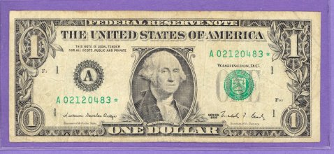 1988 $1.00 FRN Boston STAR Note A* block Run 1 A02120483* CIRCULATED