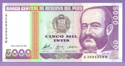 Peru 1988 5000 Intis Bank Note