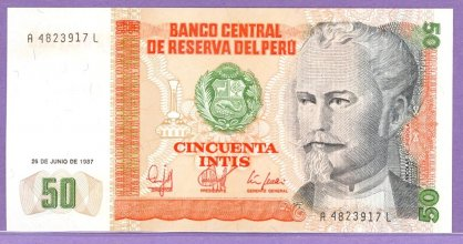 Peru 1988 50 Intis Bank Note