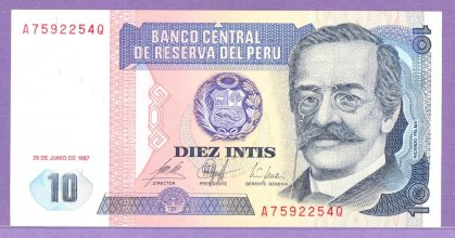 Peru 1987 10 Intis Bank Note