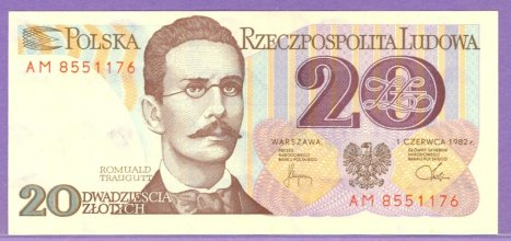 1982 Poland 20 Zlotych Note