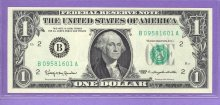 1963 MULE $1.00 FRN New York District BA blk BP 429 B09581601A Unc