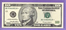 1999 $10.00 FRN STAR NOTE Richmond District BE* Block Run 2 BE03669518* UNC