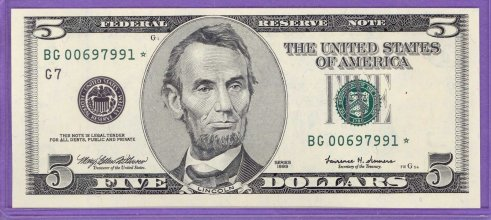 1999 $5.00 FRN STAR NOTE Chicago District BG* blk Run 1 BG00697991* UNC