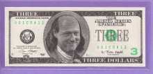 Bill Clinton as Ben Franklin $3 Political Note