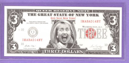 Screaming Hillary The Great State of New York Political Note