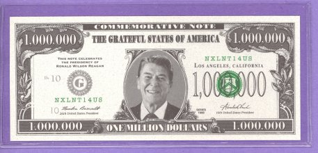Ronald Reagan Commemorative Note Political Note