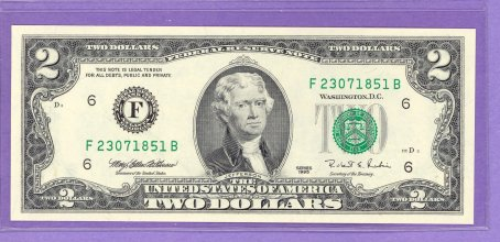 1995 $2.00 FRN Atlanta District FB block Run 1 F23071851B UNC