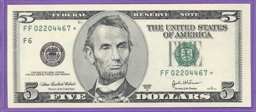 2003A $5.00 FRN STAR NOTE Atlanta District FF* block Run 1 FF02204467* UNC