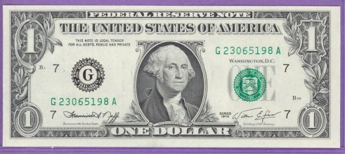 1974 $1.00 FRN Chicago District GA block Run 2 G23065198A UNC