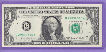 1969D $1.00 FRN Chicago District GA block Run 1 G29834510A UNC