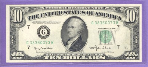1950 $10.00 FRN Chicago District Wide Back GB block G38350073B UNC