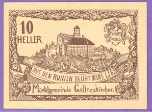 Gallneukirchen Austria Notgeld 10 Heller Note