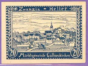 Gallneukirchen Austria Notgeld 20 Heller Note