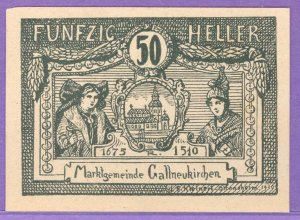 Gallneukirchen Austria Notgeld 50 Heller Note