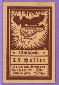 Gries am Brenner Austria Notgeld 25 Heller Note an259
