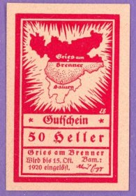 Gries am Brenner Austria Notgeld 50 Heller Note an260