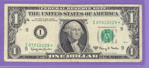1963A $1.00 Minneapolis Star Note I* Run 2 I07010229* Circulated