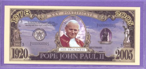 Pope John Paul II Fantasy or Novelty Note