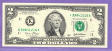 2003 SCARCE $2.00 FRN SHEET NOTE Dallas District KA Block Run 1 K99841216A UNC