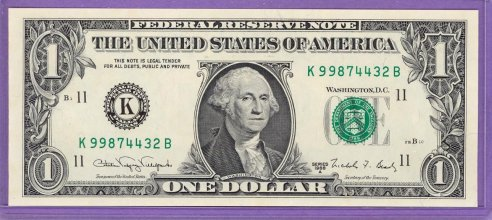 1988A SHEET NOTE $1.00 FRN Dallas District KB block Run 3 K99874432B UNC