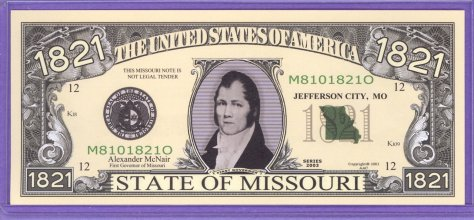 State of Missouri Novelty or Fantasy Note