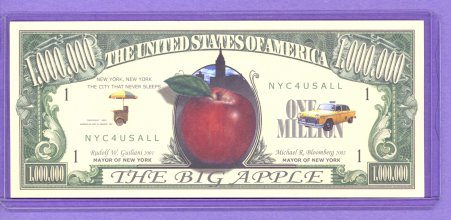 2002 The Big Apple $1,000,000 Fantasy Note