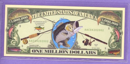 Fishing $1,000,000 Novelty or Fantasy Note