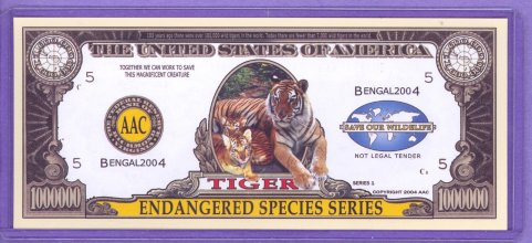Tiger $1,000,000 Novelty Note - Endangered Species