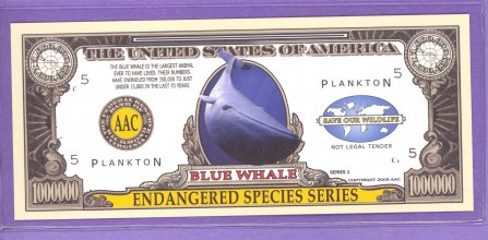 Blue Whale $1,000,000 Novelty Note - Endangered Species