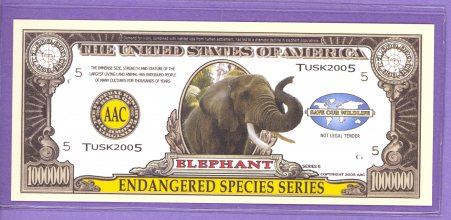 Elephant $1,000,000 Novelty Note - Endangered Species
