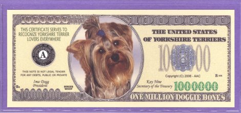 Yorkshire Terriers Million Doggie bones Fantasy or Novelty Note