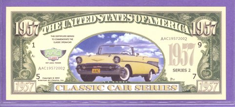 1957 Chevrolet Convertible Fantasy or Novelty Note