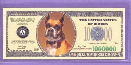 Boxers Million Doggie bones Fantasy or Novelty Note