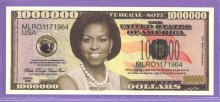 Michelle Obama Million Dollar Fantasy or Novelty Note - The First Lady