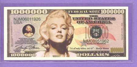 Marilyn Monroe Million Dollar Fantasy or Novelty Note