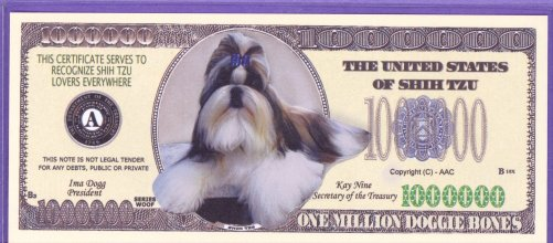 Shih Tzu $1,000,000 Novelty of Fantasy Note