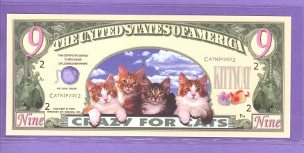 Crazy For Cats Nine Dollars Fantasy or Novelty Note