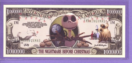 Nightmare Before Christmas $1,000,000 Fantasy or Novelty Note