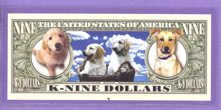 Fantasy Paper Money  笆カ NM-33 Dog Serie Man/'s Best Friend Nine Dollars Bill