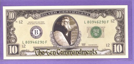 The Ten Commandments $10.00 Fantasy or Novelty Note