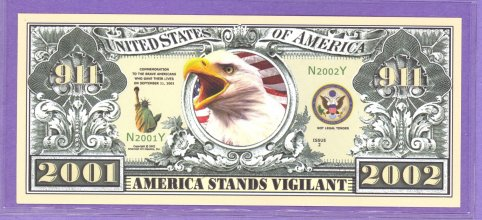 September 11, 2001 Anniverary Fantasy or Novelty Note from 2002