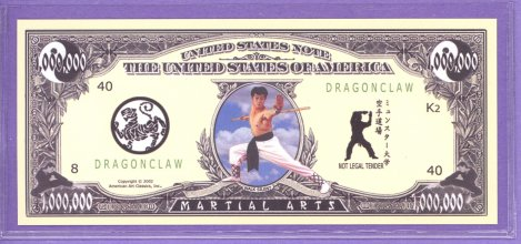 Martial Arts $1,000,000 Novelty or Fantasy Note