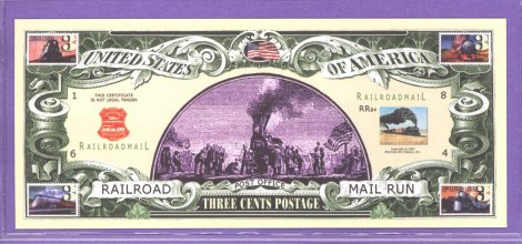 Railway 3 cent Novelty or Fantasy Note