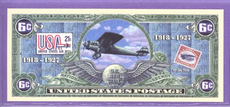 Airmail 6 cent Novelty or Fantasy Note