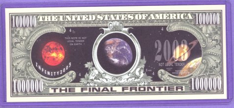 The Final Frontier 1.000.000 Planetary Dollars Note