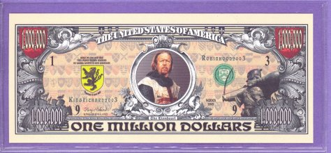 Medieval $1,000,000 Dollar Fantasy or Novelty Note - King Richard