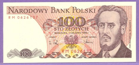 1988 Poland 100 Zlotych Note
