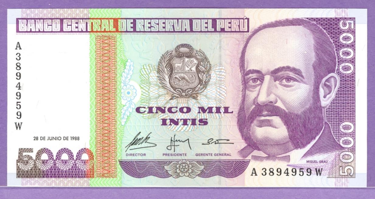 Peru 1988 5000 intis bank note a3894959w 100 zwiggys treasures peru 1988 5000 intis bank note thecheapjerseys Choice Image