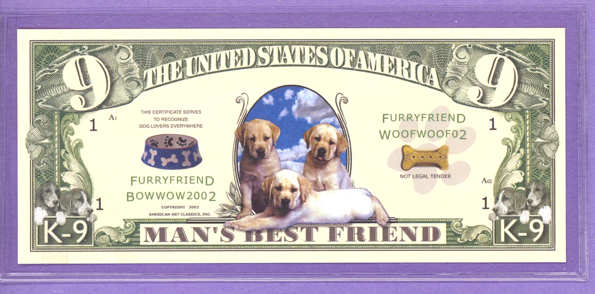 Man S Best Friend K 9 Dollars Dog Fantasy Or Novelty Note